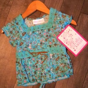 NWT EMILY WEST BO HO TOP ,Sz 5.. TEAL BLUE AND BRP
